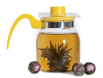 Glass yellow teapot with the Chinese tea Royalty Free Stock Photo