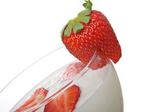 Glass of yoghurt, with fresh strawberries Royalty Free Stock Photography