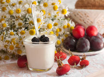 A glass of yogurt, a bouquet of chamomiles and a plate of ripe plums on a light lace surface decorated with hips Royalty Free Stock Photography