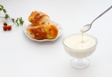 Glass of yogurt and Bread Stock Images