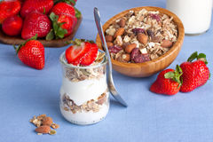 Glass of yogurt for breakfast Royalty Free Stock Photo