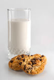 Glass of Yogurt and Chocolate Chip Cookies Stock Images