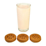 Glass with yogurt and cookies Stock Photography