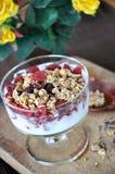 Glass of Yogurt with Granola Royalty Free Stock Photos