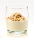 Glass of yogurt with organic cereals Stock Images