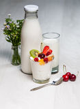 Glass of yogurt Stock Image