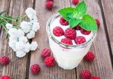 Glass of yogurt with raspberry Stock Photo