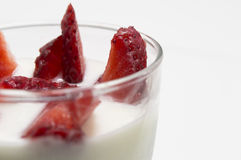 Yogurt with strawberries with copy space Stock Photos