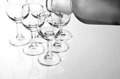 Glass8. Pouring to glasses vodka on white background royalty free stock images