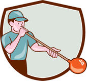 Glassblower Glassblowing Cartoon Shield Royalty Free Stock Photography