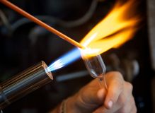 Glassblower at work Stock Photo