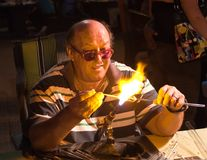 Glassblower at work. Croatia Royalty Free Stock Photo