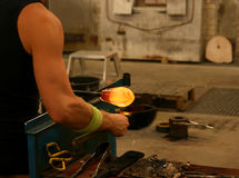 Glassblowing. Close up on hand craft skill, glass work Royalty Free Stock Photos