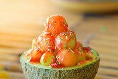 Glasscantaloupmelonfrukt Royaltyfri Fotografi
