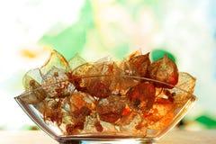 Glasschüssel mit verwittertem Physalis alkekengi - herbstliche Dekoration stockfotografie