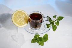 Glasschale starker schwarzer Tee auf einem schönen blauen Eis mit gelber Zitrone und grüner Minze Stockbild