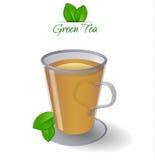 Glasschalen- und Grünblätter des grünen Tees. Lizenzfreies Stockfoto