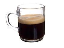 Glasschutzkappenkaffee mit Schaumgummi stockfotografie