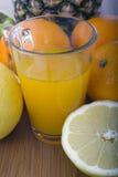 Glasse av orange fruktsaft och frukter Arkivfoto
