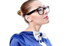 Glasse da portare affascinante della donna o dell'insegnante di affari fotografie stock