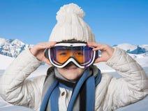 glasse del atleta del esquí Fotografía de archivo