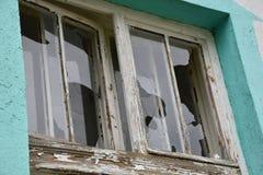 Glasse distrutto sulle finestre, primo piano fotografie stock libere da diritti