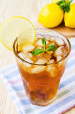 Glasse of ice tea with lemons and mint Stock Photo