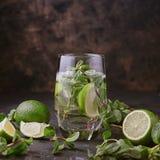 Glasse Mojito z wapnem i mennicą zdjęcie royalty free