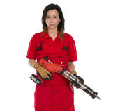 Glasser with application gun for replacing windscr Royalty Free Stock Photos