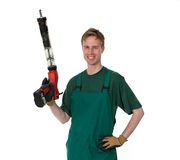 Glasser with application gun for replacing windscr Royalty Free Stock Photo
