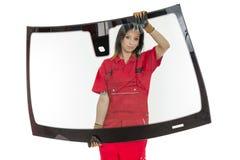 Glasser met voorruit of windscherm en witte bedelaars Stock Foto's