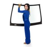 Glasser mit der Windschutzscheibe und weißen Hintergrund des Windfanges oder Lizenzfreie Stockfotos