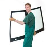 Glasser mit der Windschutzscheibe und weißen Hintergrund des Windfanges oder Stockfoto