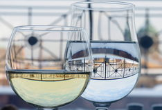 Glasses. With wine and water Royalty Free Stock Photos