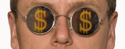 Glasses. Man's face fragment in points with the dollar image stock photos