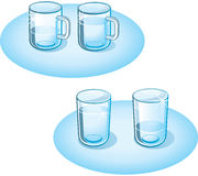 Glasses. Glass Cups full and half of water stock illustration