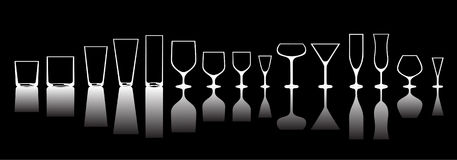 Glasses. For various alcoholic drinks.inversion of the light Royalty Free Stock Image