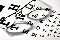 Glasses. On vision test chart Stock Image