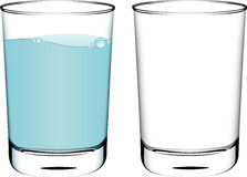 Glasses. Two glasses, one filled with water Royalty Free Stock Photo