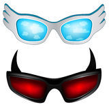 Glasses. Carnival funny glasses with wings and horns Royalty Free Stock Image