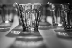 Glasses. In different positions and sharpness Royalty Free Stock Photos