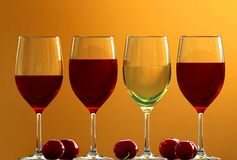 Glasses. Compsition with wine glasses and cherry Stock Images
