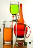 Glasses. Composition from glasses with multi-coloured drinks Royalty Free Stock Image