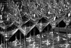 Glasses. A row of wine glasses in an Italian wine bar Royalty Free Stock Images
