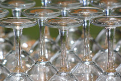 Glasses. Reflection, service, drinks, wine, alcohol, shiny, transparent, clear, waiter Stock Images