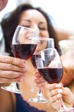 Glasses. Portrait of young happy attractive people having some wine Royalty Free Stock Photo