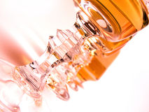 Glasses of alcohol. Close up at the pictures filled with alcohol Royalty Free Stock Photos