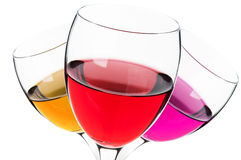 Glasses with alcohol drink Stock Images