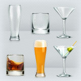 Glasses for alcohol drinks Royalty Free Stock Images