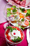 Glasses for alcohol on a festive table Stock Photos
